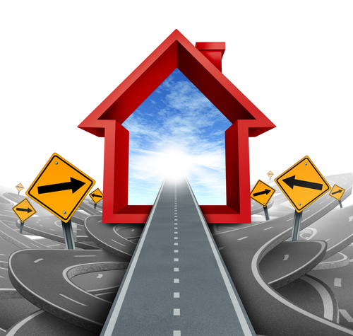 straight road, road signs, goal posts, home icon – Goal-setting for success in real estate investing