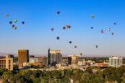 Boise, Idaho skyline, hot air balloons