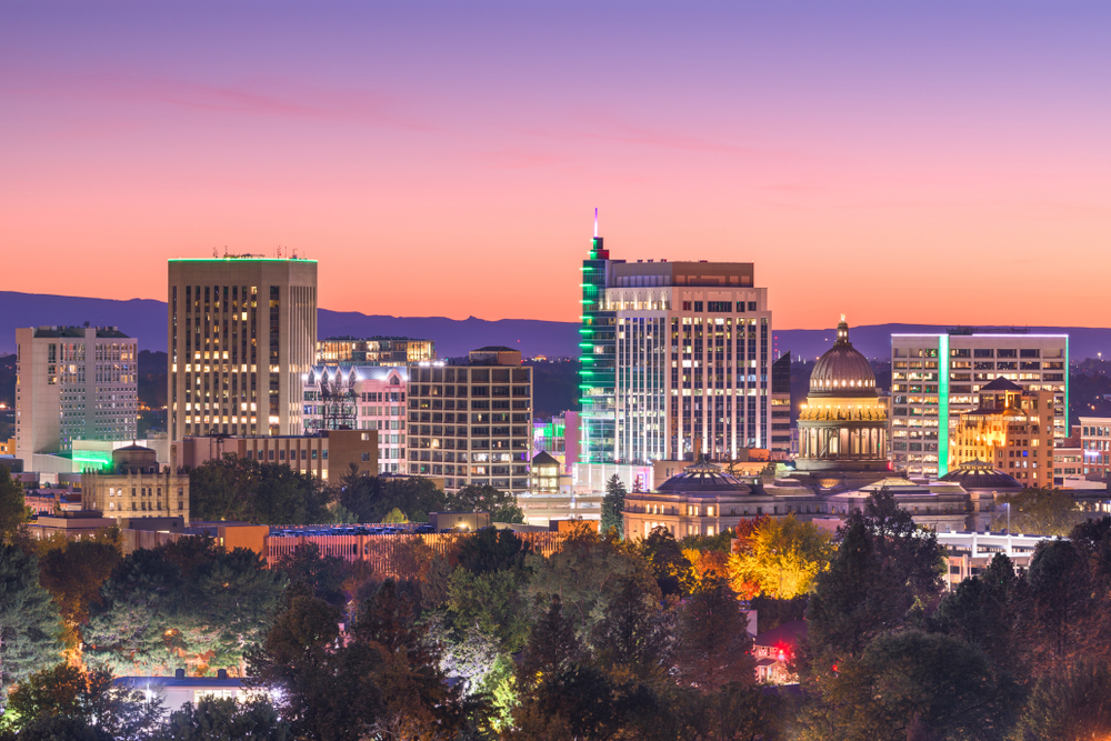 Boise, Idaho skyline, sunset