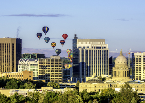 "Boise, Idaho skyline, hot air balloons – Tourism, ""bleisure"" market discovers Boise"