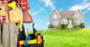 Handyman with tool bucket, house, rental property, home improvement