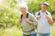 happy older couple, hiking, retired couple outdoors, Idaho