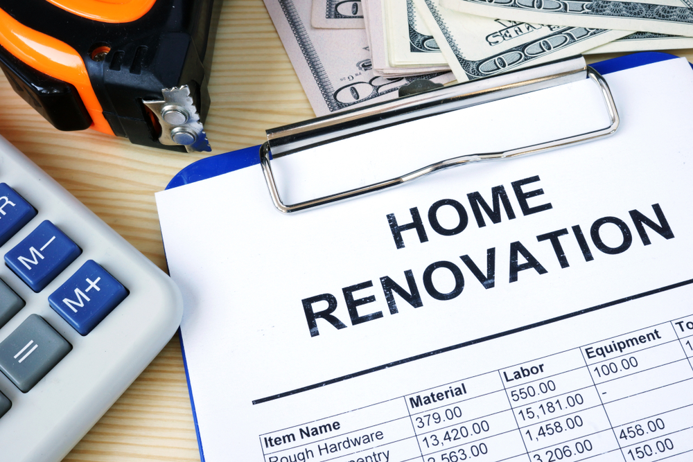 home renovation budget, calculator, cash