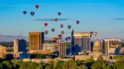 hot air balloons over Boise, Idaho skyline